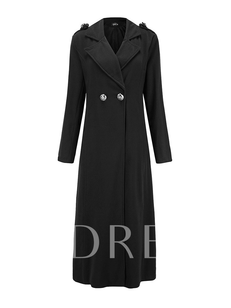 Slim Fit Double-Breasted Notched Lapel Women's Overcoat