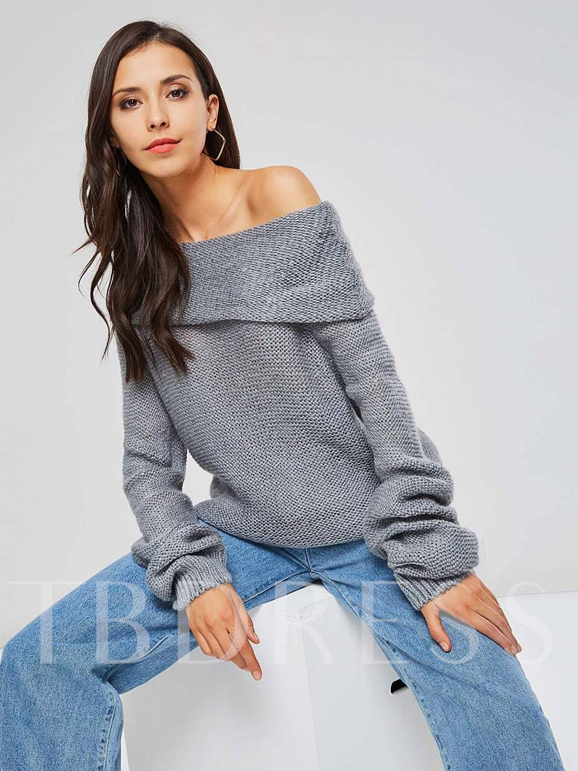 Off Shoulder Solid Color Loose Fit Women's Sweater