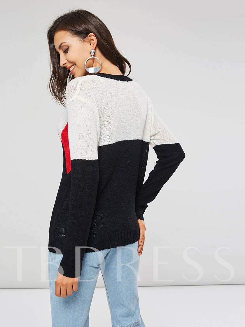 Geometric Color Block Ring Neck Women's Short Sweater