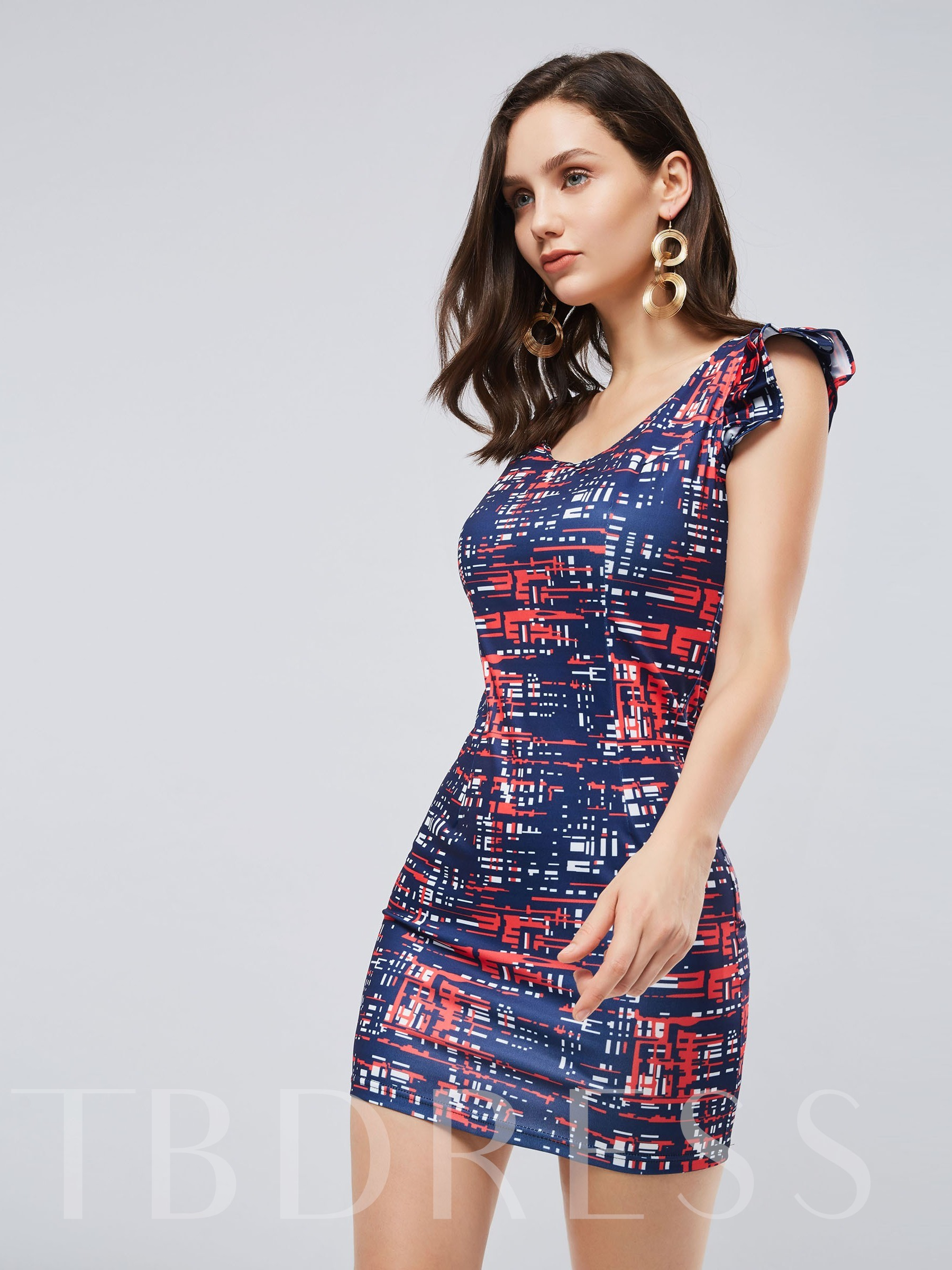 Buy Round Neck Short Sleeve Prints Bodycon Dress, Spring,Summer,Fall, 13410835 for $13.97 in TBDress store