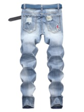 Straight Worn Zipper Pleated Men's Jean