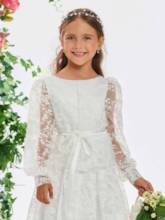 Sashes Long Sleeve Lace Flower Girl Dress