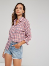 Plaid Print Pocket Long Sleeves Women's Shirt