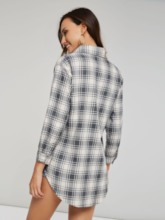 Plaid Single-Breasted Pocket Mid Length Women's Shirt