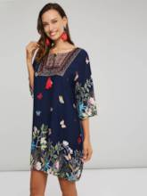 Floral Nine Points Sleeve Women's Day Dress