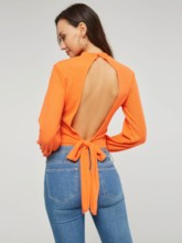 Lantern Sleeve Backless Lace Up Women's Crop Sweater
