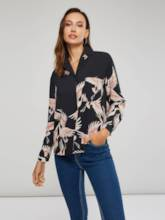 Animal Print Single-Breasted Notched Lapel Women's Shirt