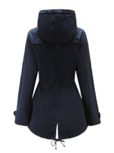 High Neck Hooded Tight Waist Drawstring Women's Jacket