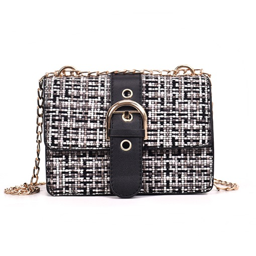 Plaid Wool Blends Color Block Knitted Crossbody Bag