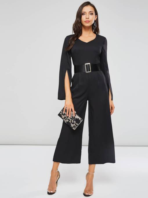 High Waist V Neck Belted Women's Jumpsuit