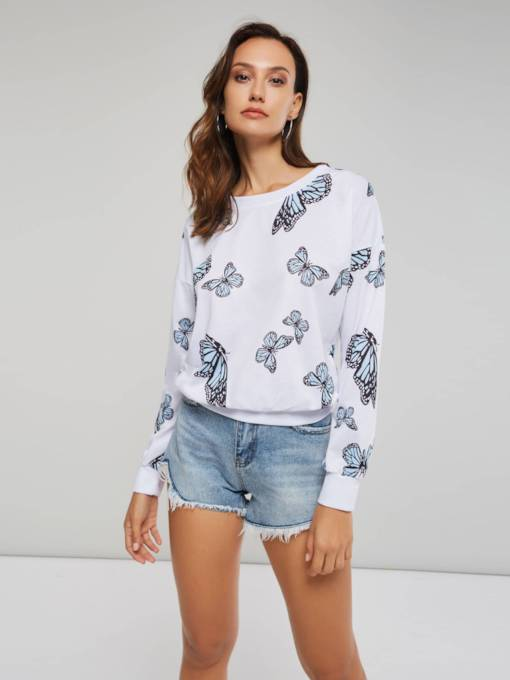 Plain Scoop Neck Butterfly Print Women's Sweatshirt