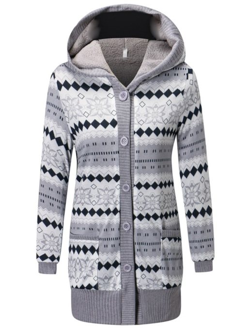 Geometric Print Mid Length Women's Hooded Cardigan