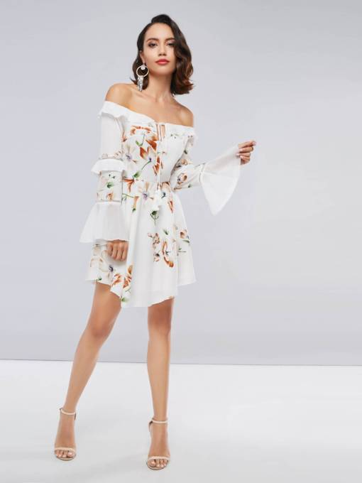 Off Shoulder Falbala Flare Sleeve Women's Day Dress