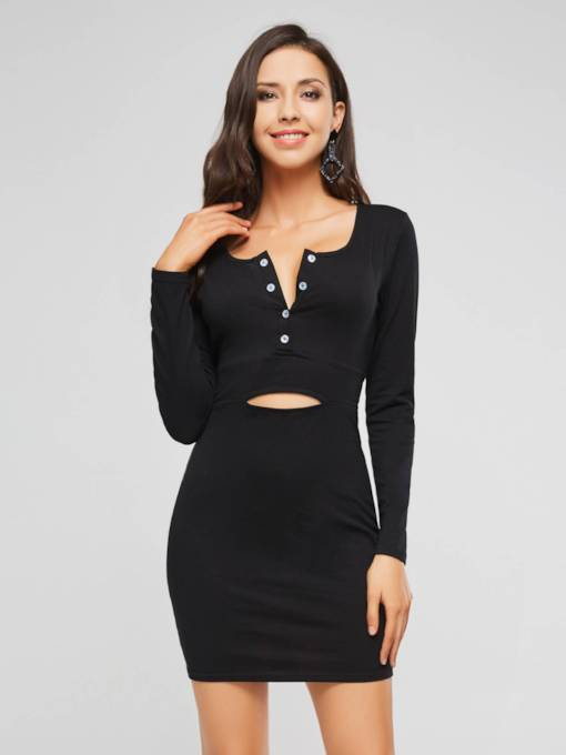 Black Hollow Women's Bodycon Dress