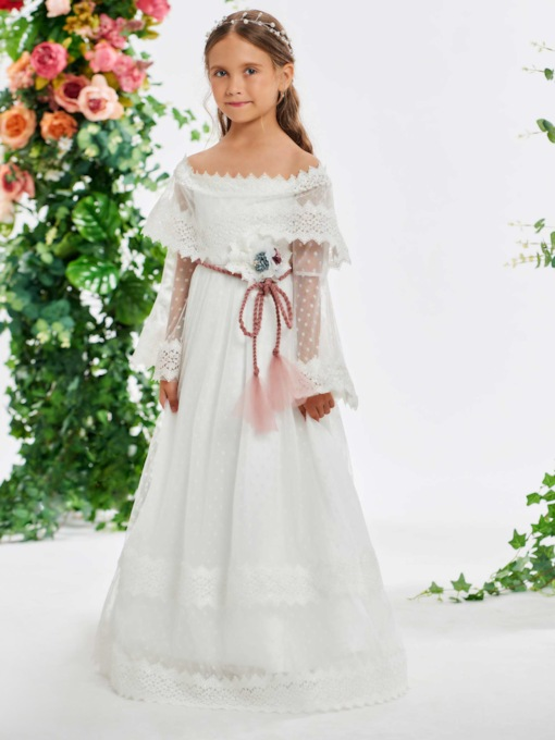 Long Sleeve Sashes Lace Flower Girl Dress