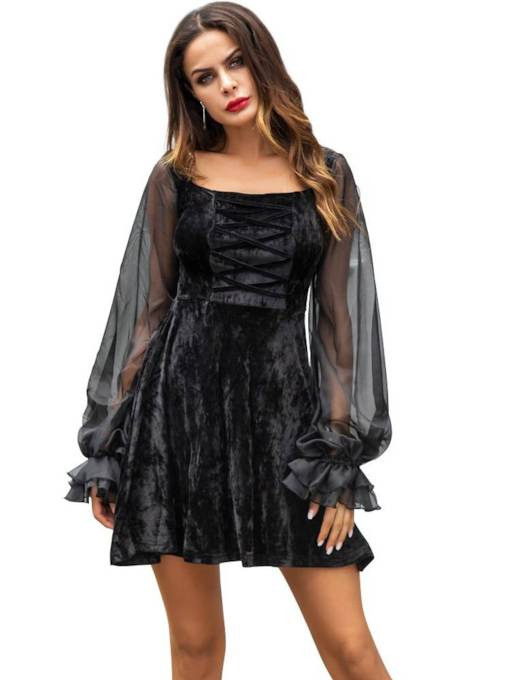 See-Through Long Sleeves Women's Party Dress
