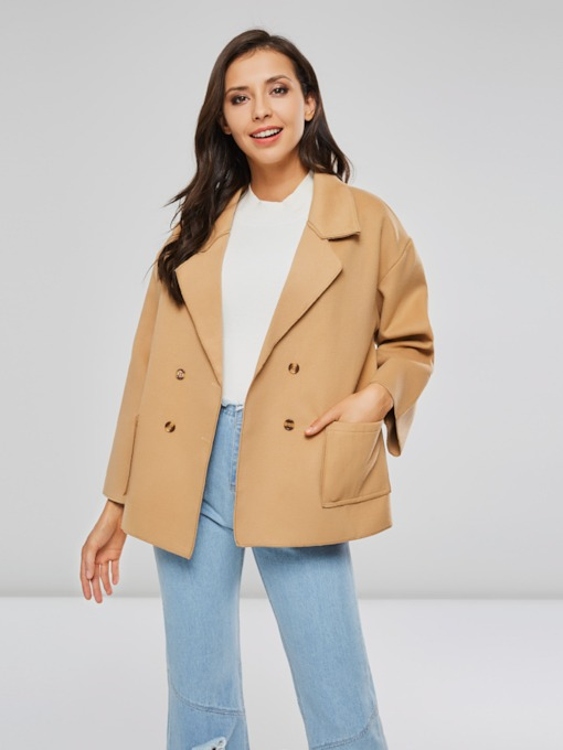 OL Lapel Double-Breasted Pockets Women's Overcoat