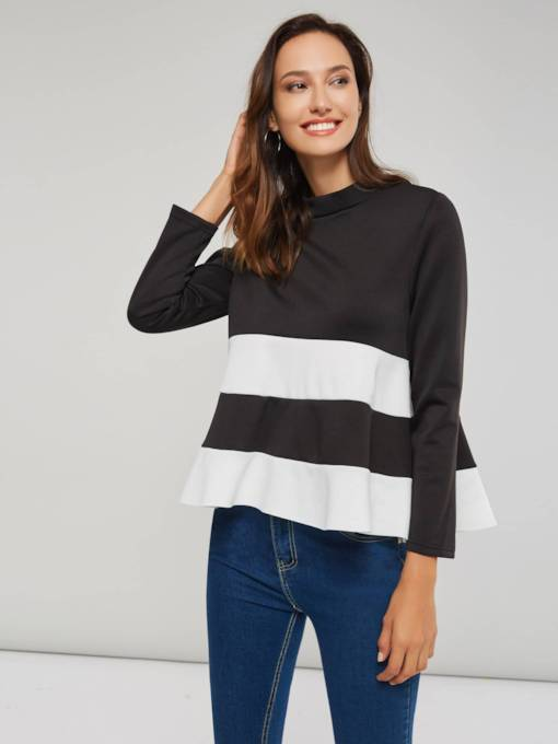 Asymmetric Ruffle Color Block Women's Blouse