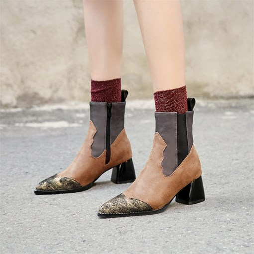 Side Zipper Chunky Heel Pointed Toe Color Block Women's Ankle Boots