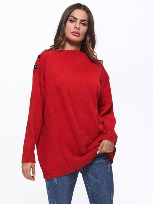 Slash Neck Lantern Sleeve Solid Color Women's Sweater