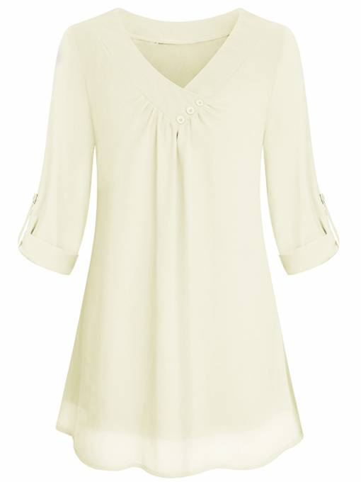 Chiffon Short Sleeve Women's Blouse With Button In Deco