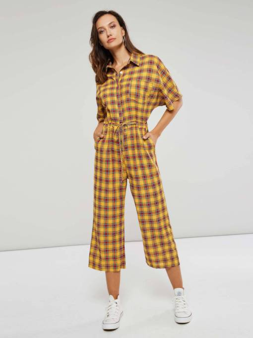 Color Block Short Sleeve Gingham Women's Jumpsuit