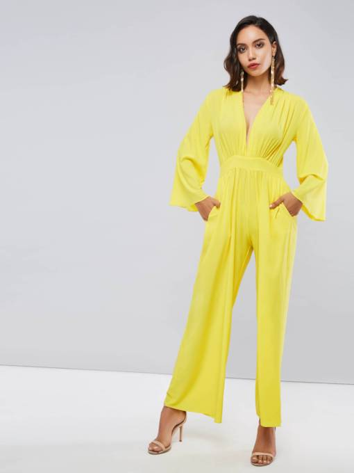 Plain Long Sleeve V Neck High Waist Women's Jumpsuit
