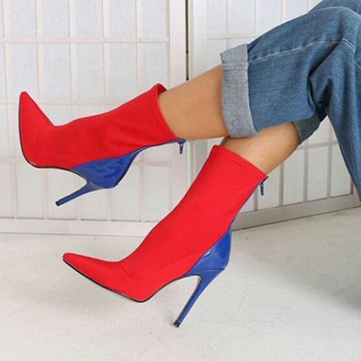 Pointed Toe Stiletto Heel Color Block Back Zip Women's Ankle Boots