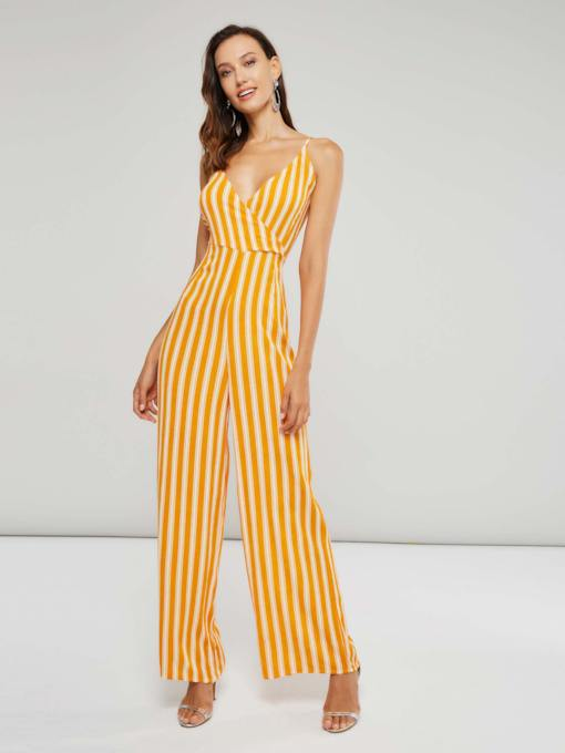 dd97e887752 Stripe Color Block Backless V Neck Women s Jumpsuit