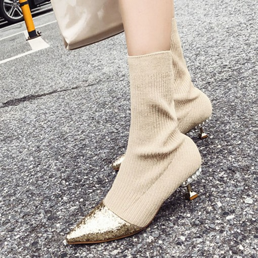 Stiletto Heel Pointed Toe Slip-On Patchwork Chic Women's Ankle Boots