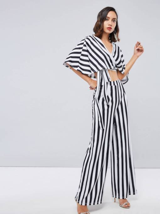 Casual Stripe T-Shirt and Pants Women's Two Piece Set
