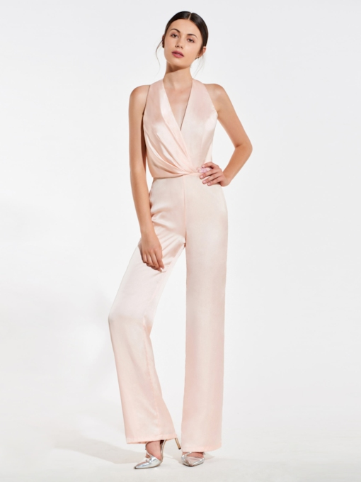 Beading Halter Backless Bridesmaid Jumpsuits