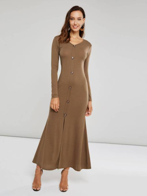 Long Sleeves Single-Breasted Women's Maxi Dress
