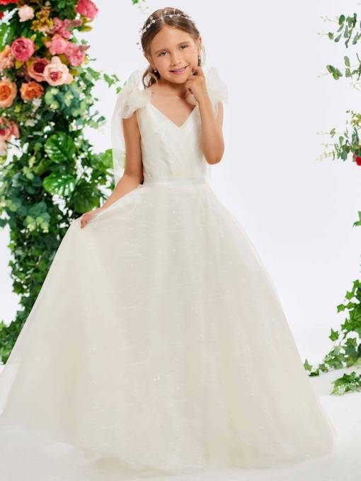 Bowknot Straps A-Line Lace Flower Girl Dress