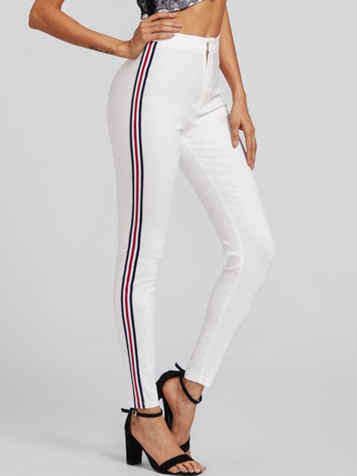 Skinny Stripe Mid-Waist Women's Casual Pants