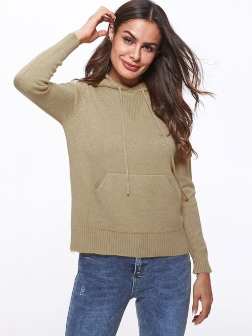 Wide Pocket Solid Color Women's Hooded Sweater