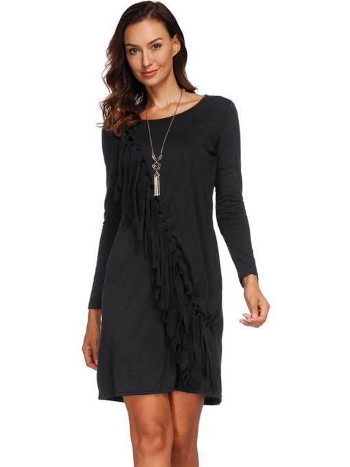 Black Tassel Women's Long Sleeve Dress