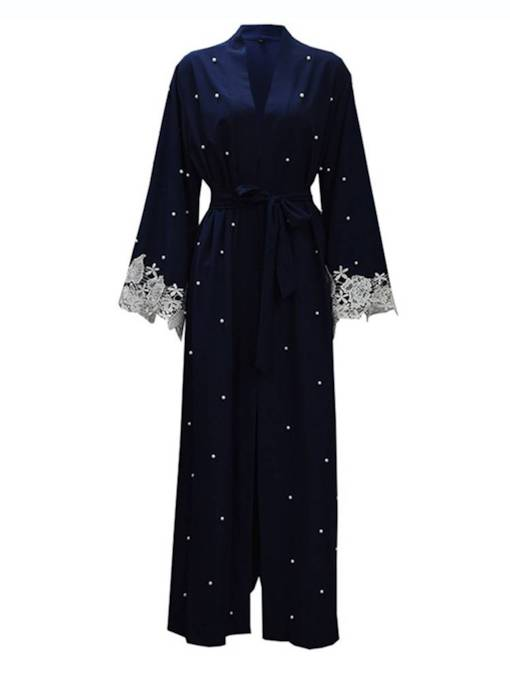 Beading Flare Sleeve Lace Patchwork Tie Waist Women's Trench Coat