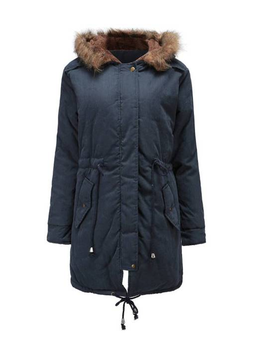 Hidden Zip Faux Fur Hooded Women's Cotton Clothes