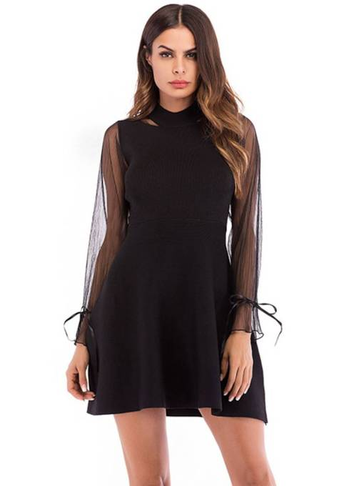 Black See-Through Long Sleeves Women's Day Dress