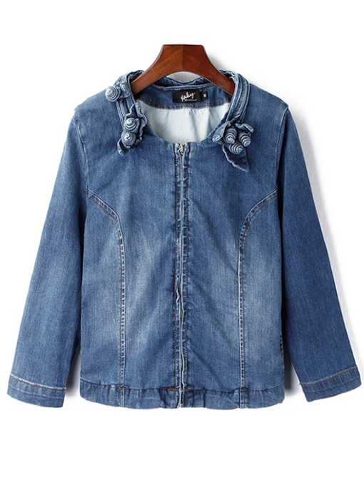 Stand Collar Zipper Up Slim Fit Pocket Women's Denim Jacket