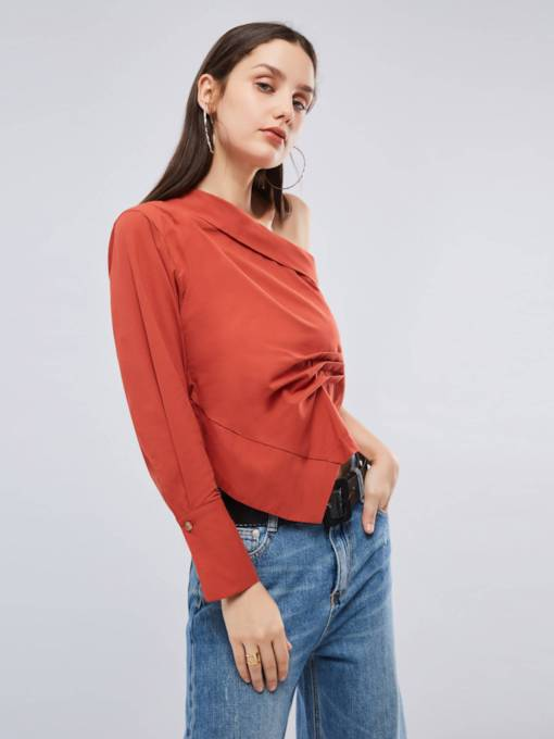 Asymmetric Ruched One Shoulder Off Women's Blouse