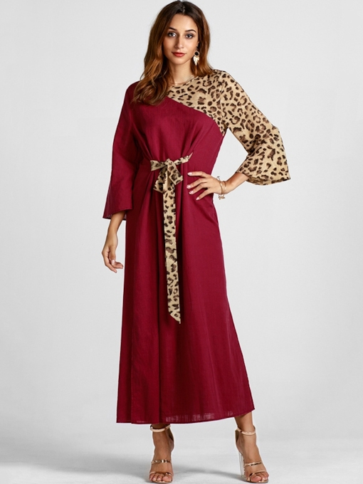 Leopard Nine Points Sleeve Women's Maxi Dress