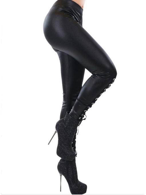 Halloween Costume Lace-Up Plain Fashion Women's Leggings