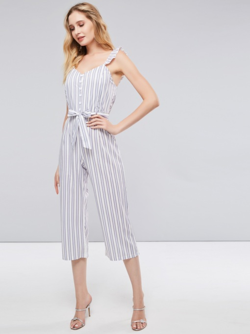 Ruffled Striped Color Block Women's Jumpsuit