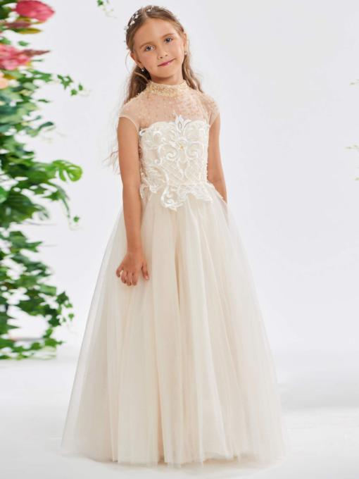 Perlen High Neck Applikationen Blumenmädchen Kleid