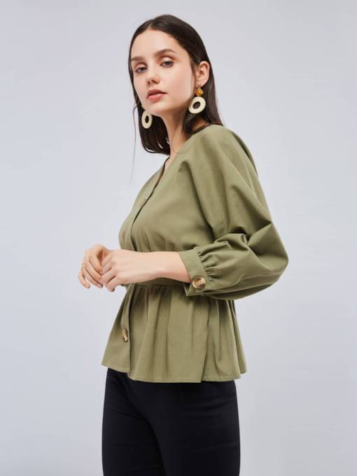 Olive Green Lantern Sleeve Tight Waist Women's Shirt