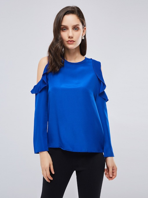 Plus Size Cold Shoulder Long Sleeve Frilled Women's T-Shirt