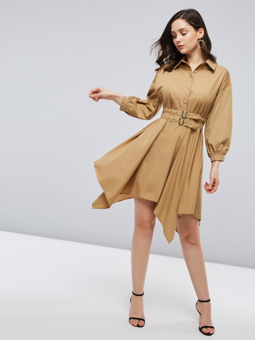 Lantern Sleeve Belt A-Line Day Dress