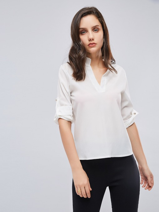 Plain V-Neck Roll-Tab-Sleeve Chiffon Women's Blouse